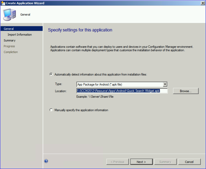 Deploy APK (Android) app in SCCM 2012 with Windows Intune